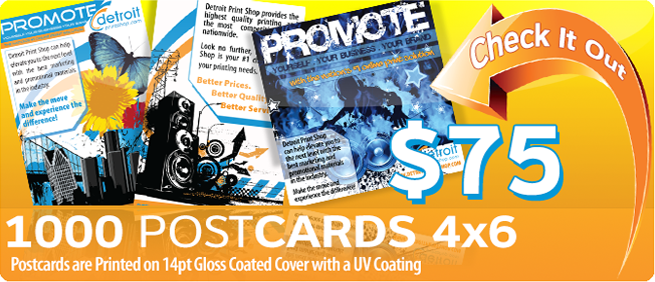 $55 1000 Postcards 4x6 printed on 14pt gloss coated cover with a UV Coating
