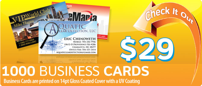 $29 1000 Business Cards printed on 14pt Gloss Coated Cover with a UV Coating